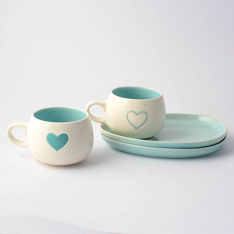 Turquoise heart cup & saucer set (2 per set)