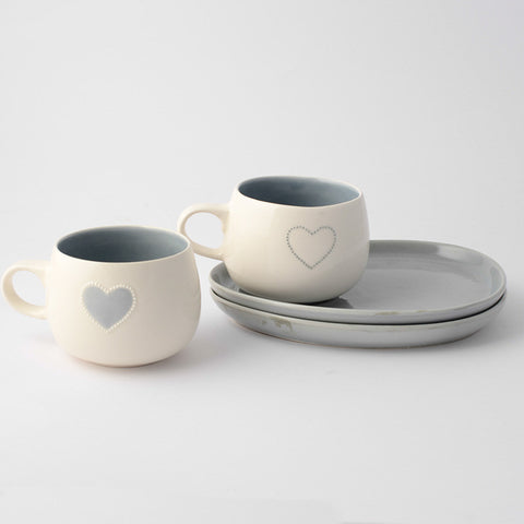 Solid grey heart cup & saucer (2 per set)