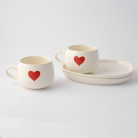 Solid red heart cup & saucer set (2 per set)
