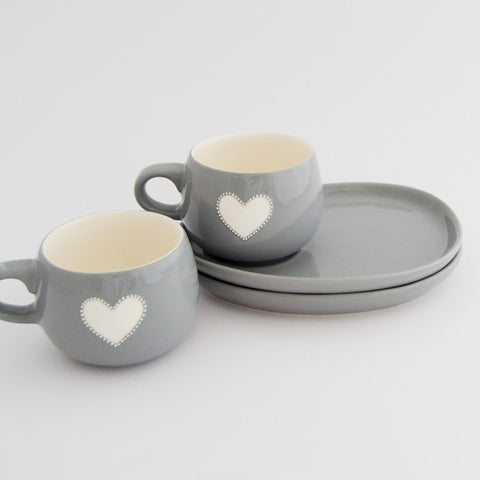 Viva grey heart cup & saucer set (2 per set)