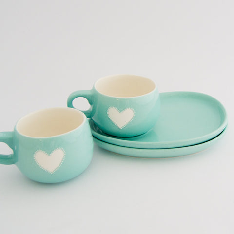 Viva turquoise heart cup & saucer set (2 per set)