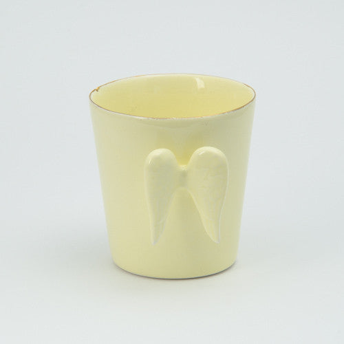 Butter yellow angel wing mug