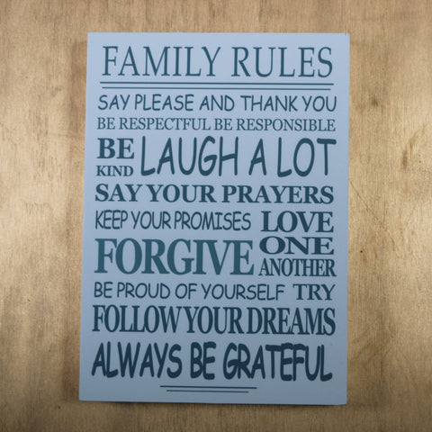 Wooden block print - Family rules