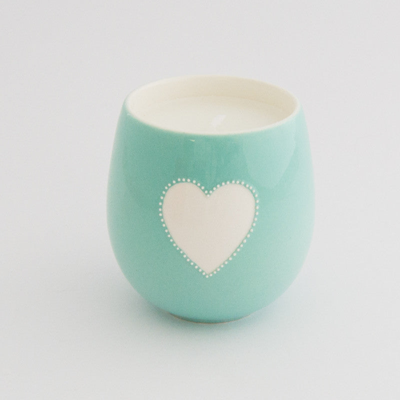 Viva turquoise heart candle