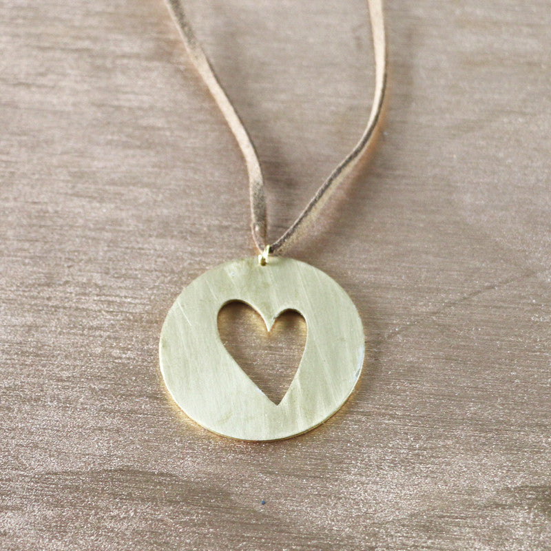 Heart in circle long necklace