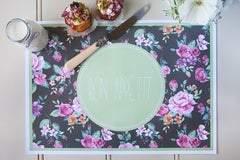 Paper placemats - green floral