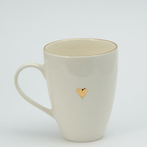 White & gold heart mug