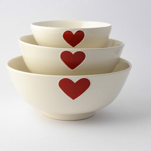 Medium red heart salad bowl