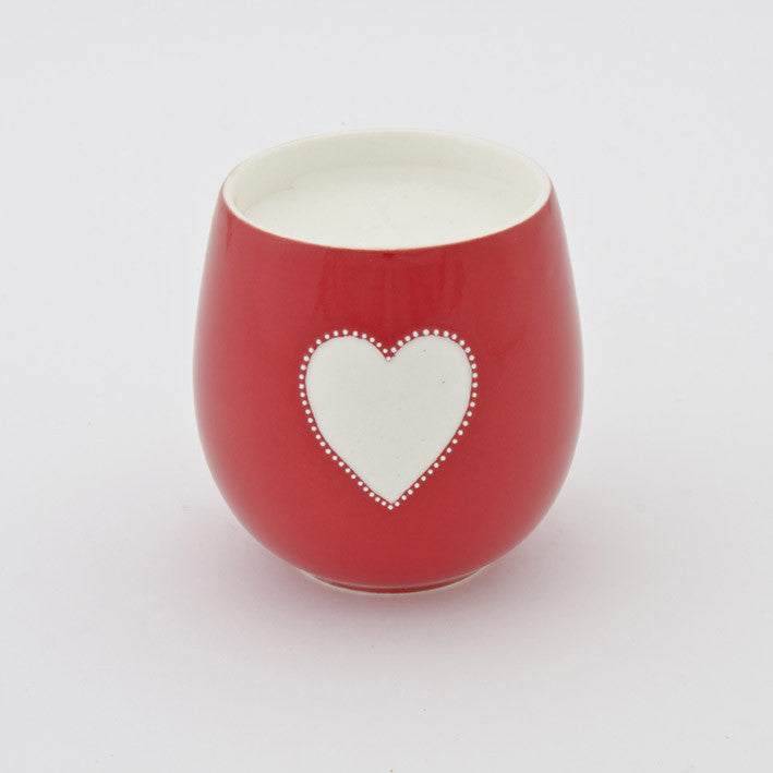 Viva red heart candle