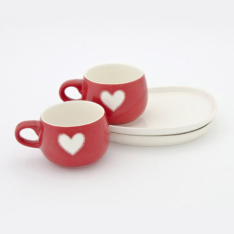 Viva red heart cup & saucer set (2 per set)