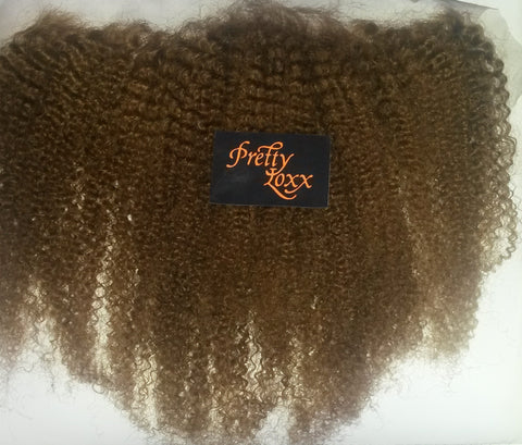 "PRETTYLOXX 14""  AFRO CURL INDIAN REMY FRONTAL COL 6"