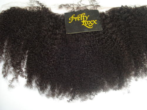 "PRETTY LOXX 12""  AFRO CURL INDIAN REMY FRONTAL COL 1B - PrettyLoxx"