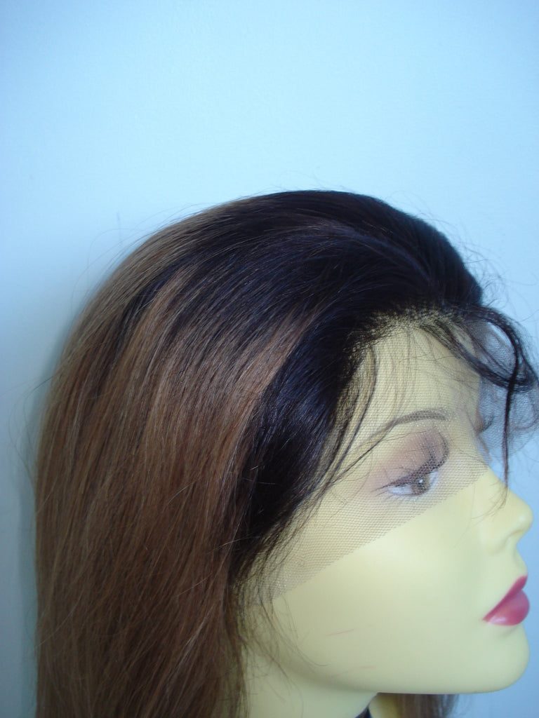 Pretty Loxx Indian Remy Silky Straight Ombre Lace Front Wig 2/8 - PrettyLoxx