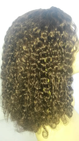 "Pretty Loxx Indian Remy L Part Wig Curly 14"" col 2"