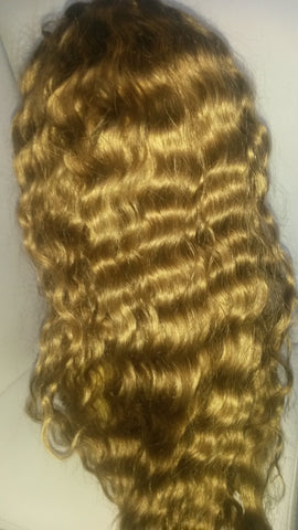 "Pretty Loxx Indian remy Wavy Full Lace Wig 18"" col 8"