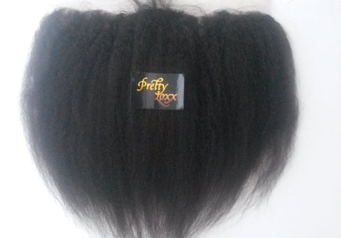 PrettyLoxx Brazilian Virgin Lace Frontal Coarse Yaki
