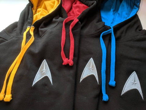Star Trek Hooded top. Available in three colours,  Red, Gold and Blue