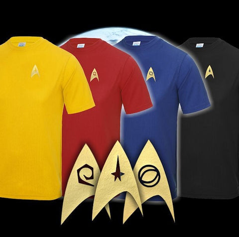 Star Trek: Divisional colour sport tee shirts - Gold Print