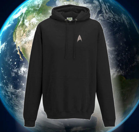 Star Trek Hoodie - Star Trek , Black Hoodie, Black embroidered logo
