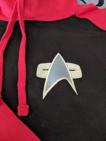 Star Trek - Red & Black Baseball Hoodie.  Choose from 3 badges!