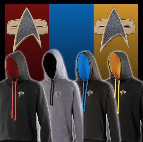 Star Trek Hoodie - Embroidered with Voyager/DS9 Style Starfleet logo