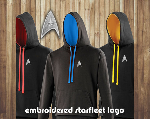 Star Trek Hoodie. Available in three divisional colours,  Red, Gold and Blue
