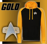 Star Trek Voyager | DS9 Baseball Hoodie. Available in three divisional colours,  Red, Gold and Blue - Bad Wolf Clothes