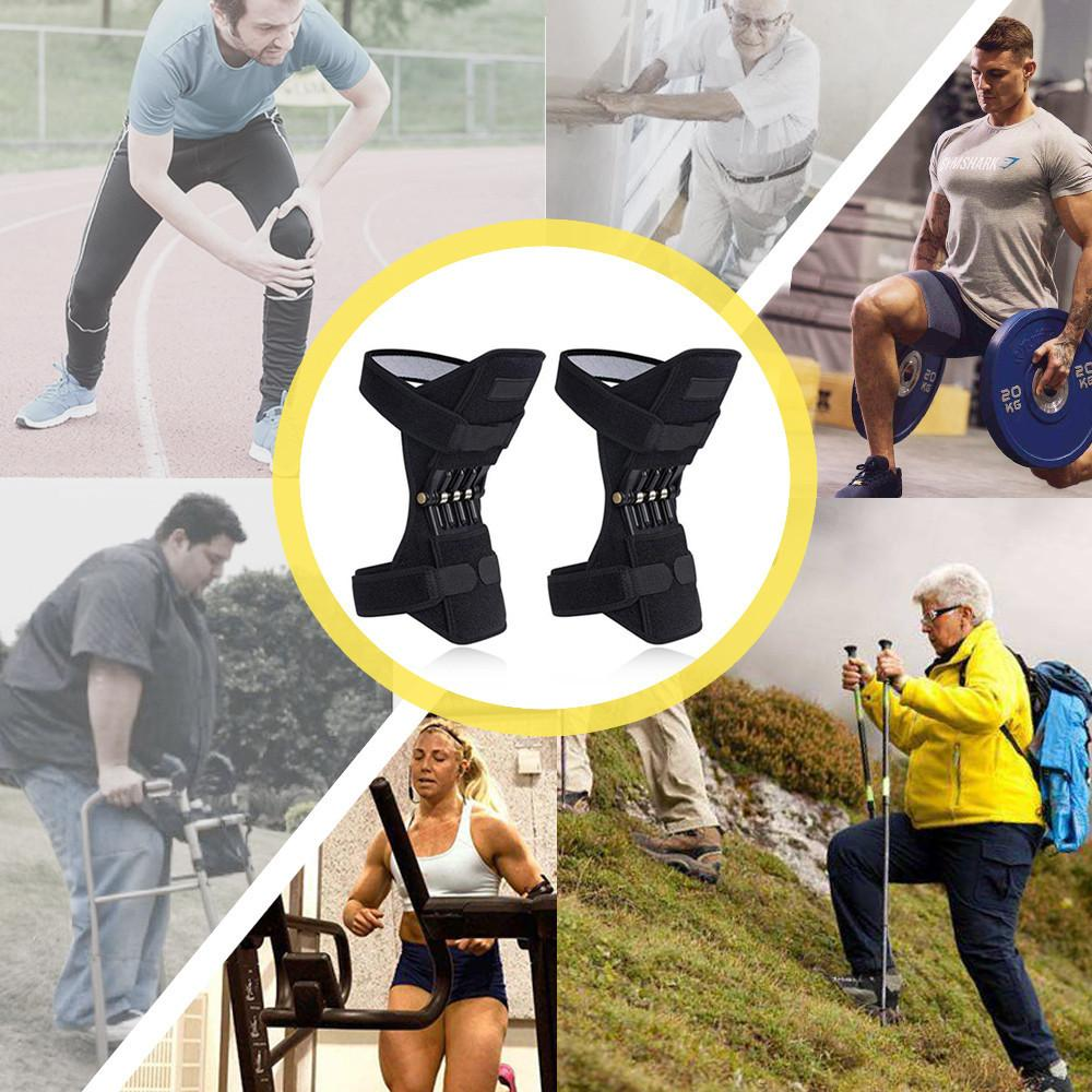 Spring Knee Pad Breathable Brace Rebound Booster Compression Sleeves Knee Protection Powerful Support Silicon Padded Bracket Patella Stabilizer Protector Joint Pain Relief