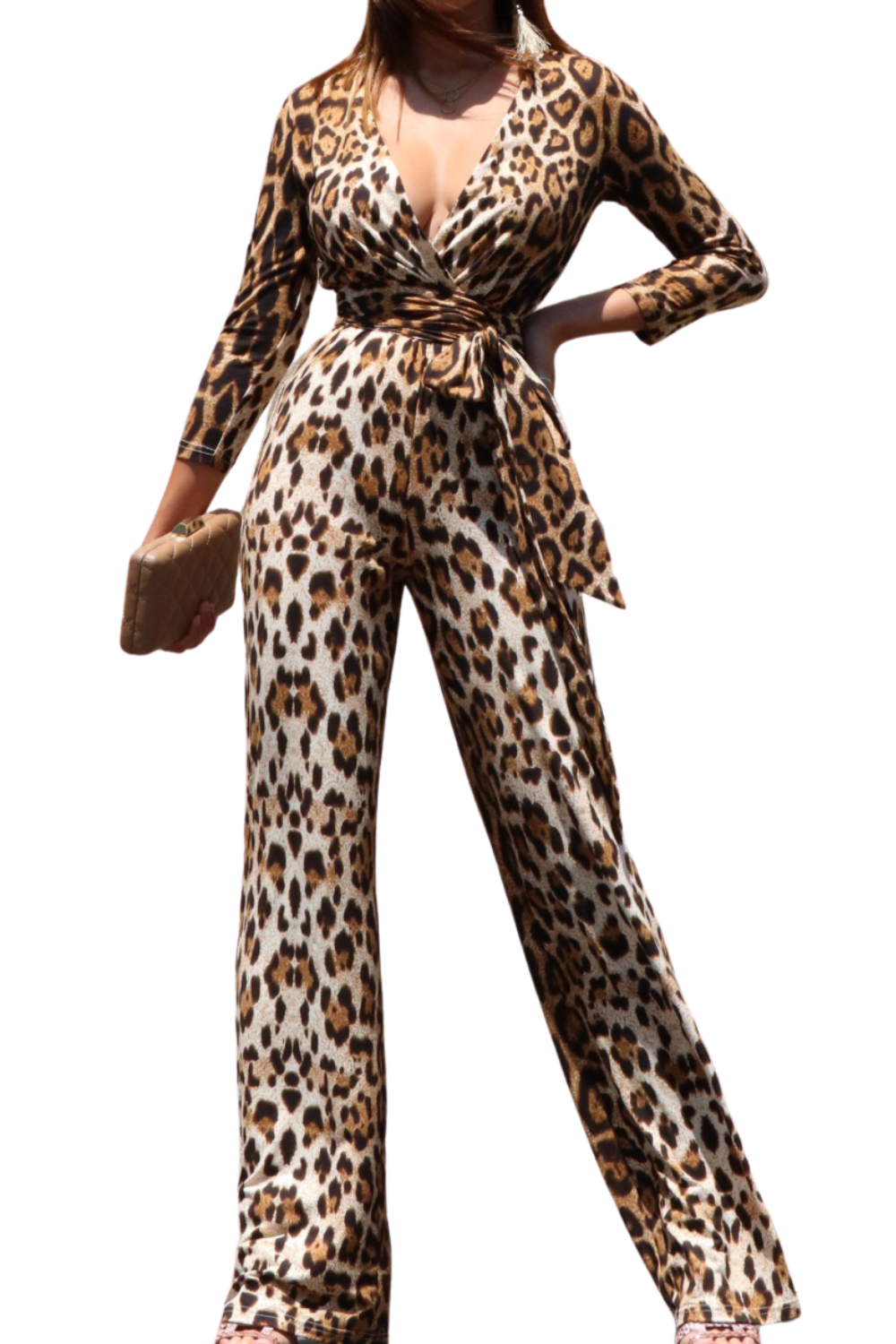 Bossy Leopard Flare Jumpsuit