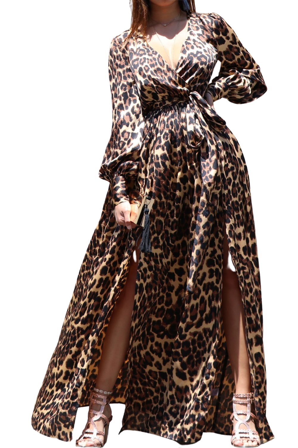 Leslie Leopard Print Satin Dress