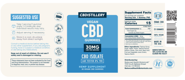 CBDistillery : 30mg CBD Gummies, 25 Count