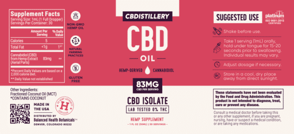 CBDistillery : 2500mg Pure CBD Oil (THC Free) 30ml