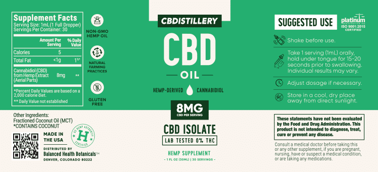 CBDistillery : 250mg Pure CBD Oil (THC Free) 30ml