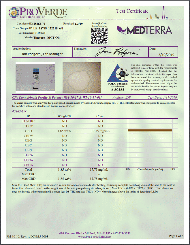 MedTerra : 500mg CBD Oil Tincure 30ml