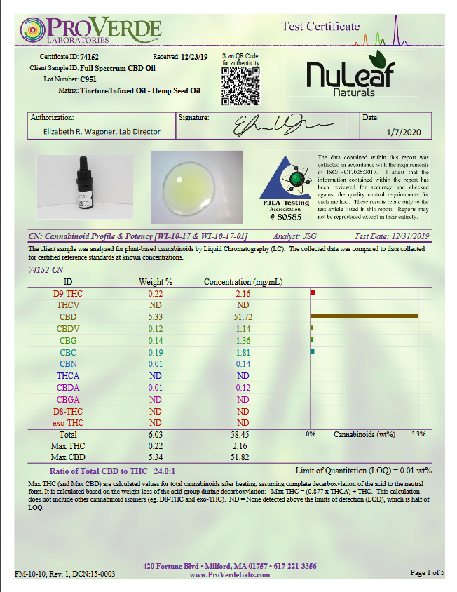 Nuleaf : 300mg Full Spectrum CBD Oil, High Grade Hemp Extract (30mg/ml)