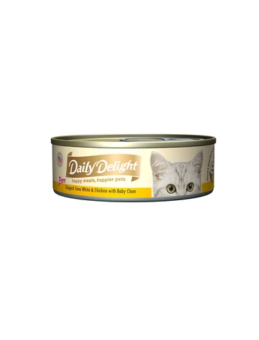 Daily Delight Pure Skipjack Tuna White & Chicken with Baby Clam Canned Cat Food 80g