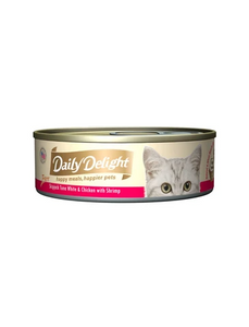 Daily Delight Pure Skipjack Tuna White & Chicken with Shrimp Canned Cat Food 80g