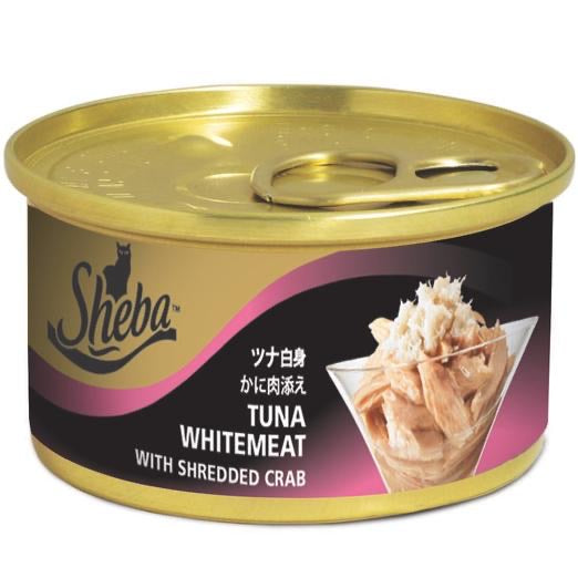 Sheba Tuna Whitemeat With Shredded Crab Canned Cat Food 85g