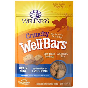 Wellness Crunchy WellBars Whitefish & Sweet Potatoes Cheese Recipe Dog Treats 8oz