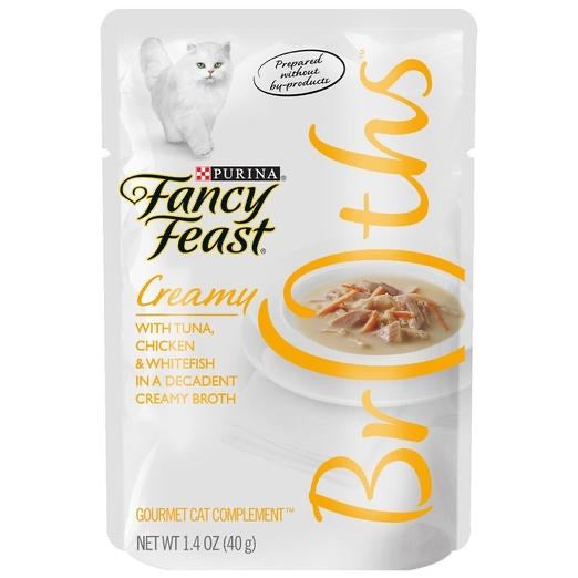 10% OFF: Fancy Feast Creamy Broths Tuna, Chicken & Whitefish Pouch Cat Food 40g