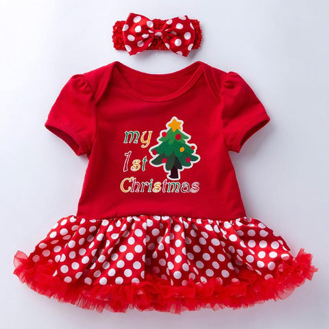 2-piece Cartoon Romper-skirt and Bow Headband Sets for Baby Girl Wholesale children's clothing