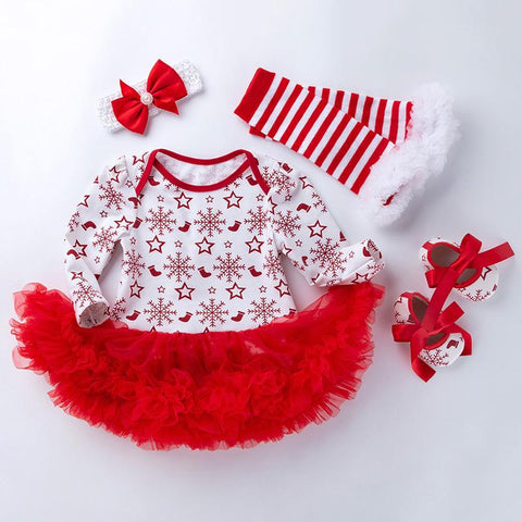4-piece Cartoon Romper-skirt and Shoes and Bow and Leggings Sets for Baby Girl Wholesale children's clothing