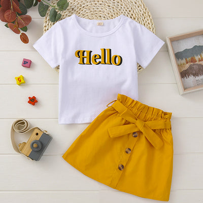 Toddler Girl Letter Print T-shirt & Skirt Wholesale Yellow 18-24 Months