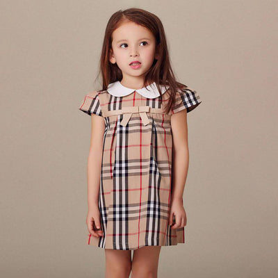 Lapel Collar Plaid Dress for Toddler Girl Wholesale children's clothing - Riolio