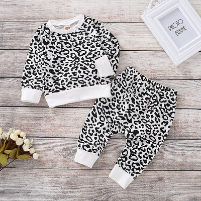 2-piece Leopard Sweatshirt & Pants for Baby Girl Wholesale children's clothing - Riolio