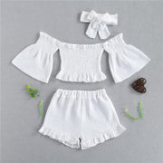 Toddler Girl Off-the-shoulder Flared Sleeves Top & Shorts & Headband Wholesale White 5-6 Years