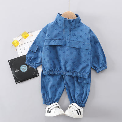 2-piece Bell Printed Coat & Pants for Toddler Boy Wholesale children's clothing - Riolio