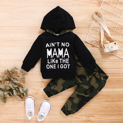 2-piece Letter Pattern Hoodie & Camouflage Pants for Baby Boy Wholesale children's clothing - Riolio