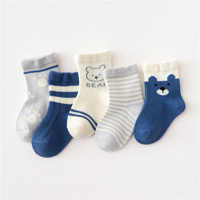 5-piece Boys Bear Knee-High Stockings Wholesale Children's Clothing - Riolio