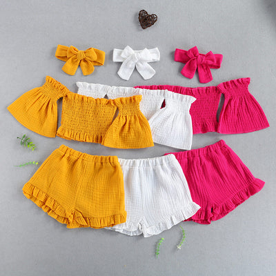 Toddler Girl Off-the-shoulder Flared Sleeves Top & Shorts & Headband Wholesale White 18-24 Months